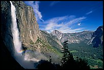 Upper Yosemite Falls with rainbow at base, early afternoon. Yosemite National Park, California, USA. (color)