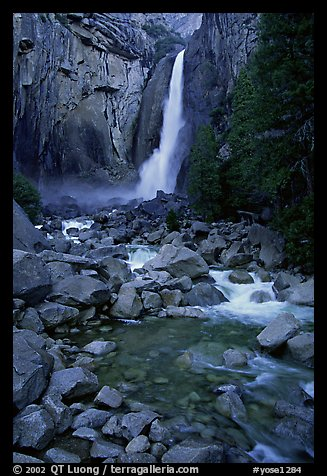 Lower Yosemite Falls, dusk. Yosemite National Park (color)