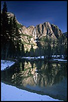 Merced River and Yosemite Falls from Swinging Bridge, winter morning. Yosemite National Park, California, USA.