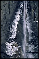 Ice crust on Yosemite Falls wall. Yosemite National Park, California, USA.