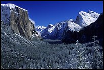 Yosemite Valley from Tunnel View in winter with snow-covered trees and mountains. Yosemite National Park ( color)