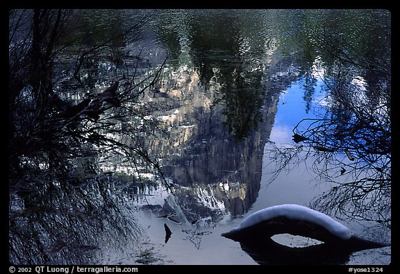 Reflections in Mirror Lake, winter afternoon. Yosemite National Park (color)