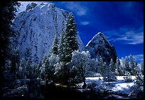 Cathedral rocks with fresh snow, early morning. Yosemite National Park, California, USA.