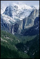 Bridalveil Falls and Cathedral rocks in winter. Yosemite National Park, California, USA.