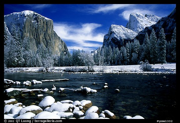 Valley View in winter with fresh snow. Yosemite National Park, California, USA.