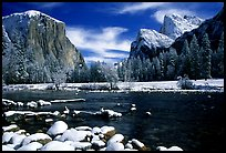 Valley View in winter with fresh snow. Yosemite National Park, California, USA. (color)