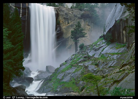 Vernal Fall and wet granite slab. Yosemite National Park, California, USA.