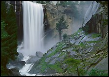 Vernal Fall and wet granite slab. Yosemite National Park, California, USA. (color)