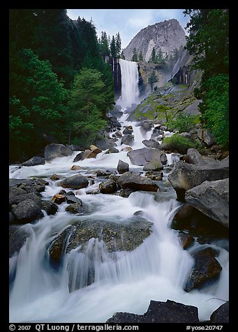 Vernal Fall and downstream cascades. Yosemite National Park (color)