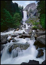 Vernal Fall and downstream cascades. Yosemite National Park, California, USA. (color)