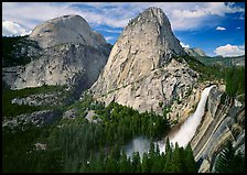 Nevada Fall, Liberty Cap, and Half Dome. Yosemite National Park, California, USA. (color)