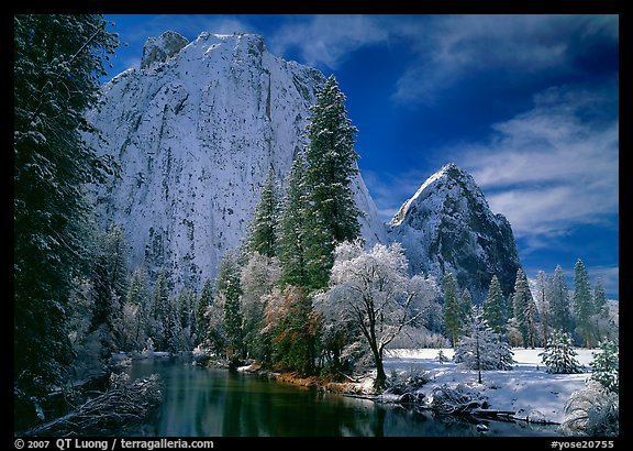 Cathedral rocks and Merced River with fresh snow. Yosemite National Park (color)