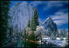 Cathedral rocks and Merced River with fresh snow. Yosemite National Park, California, USA. (color)