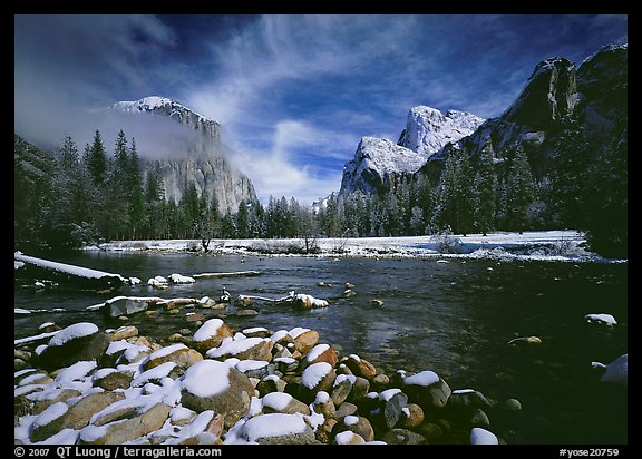Valley View in winter. Yosemite National Park, California, USA.