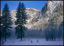 Awhahee Meadow and Yosemite falls wall with snow, early winter morning. Yosemite National Park, California, USA.