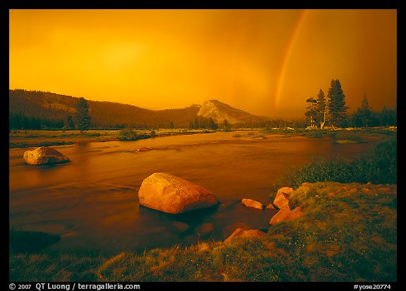 Tuolumne River, Lambert Dome, and rainbow, evening storm. Yosemite National Park (color)