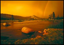 Tuolumne River, Lambert Dome, and rainbow, evening storm. Yosemite National Park, California, USA.