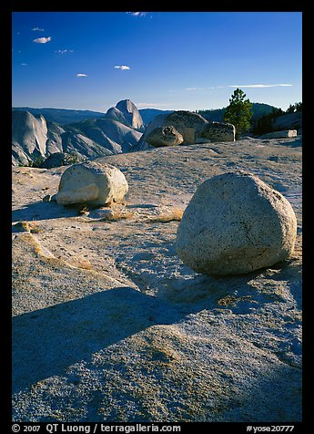Glacial erratic boulders and Half Dome, Olmsted Point, afternoon. Yosemite National Park (color)