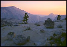 Glacial polish and erratics, Clouds Rest and Half Dome, sunset. Yosemite National Park, California, USA.