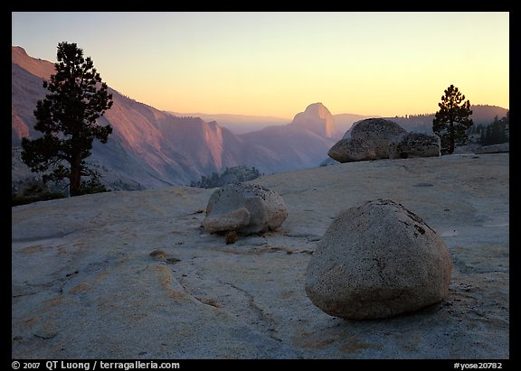 Boulders and Half-Dome at sunset, Olmsted Point. Yosemite National Park (color)
