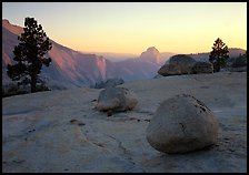 Boulders and Half-Dome at sunset, Olmsted Point. Yosemite National Park, California, USA. (color)