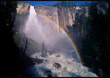 Nevada Falls with rainbow, afternoon. Yosemite National Park, California, USA. (color)