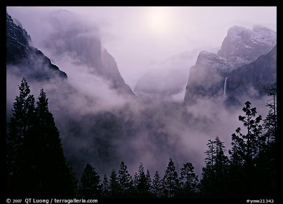Yosemite Valley from Tunnel View with fog. Yosemite National Park (color)