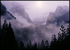 Yosemite Valley from Tunnel View with fog. Yosemite National Park, California, USA. (color)