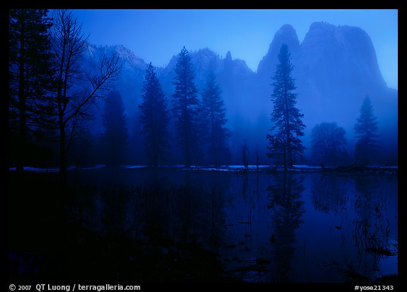 Cathedral rocks with mist, winter dusk. Yosemite National Park (color)