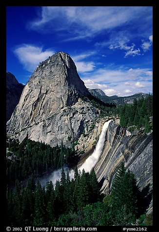 Nevada Fall and Liberty cap, afternoon. Yosemite National Park (color)