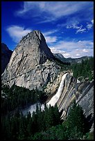Nevada Fall and Liberty cap, afternoon. Yosemite National Park, California, USA. (color)