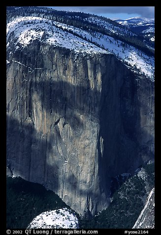 El Capitan seen from Dewey Point in winter. Yosemite National Park (color)