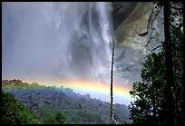 Rainbow at  base of Upper Yosemite Falls. Yosemite National Park, California, USA.