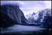 Yosemite Valley from Tunnel View with fog in winter. Yosemite National Park ( color)