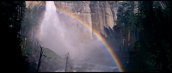 Nevada Fall and rainbow. Yosemite National Park (Panoramic color)