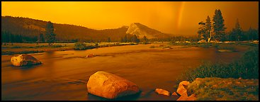 Tuolumne River, Lambert Dome, and rainbow, evening storm. Yosemite National Park (Panoramic color)