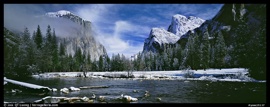 Yosemite Valley in winter. Yosemite National Park (color)