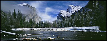 Yosemite Valley in winter. Yosemite National Park (Panoramic color)