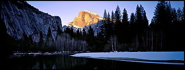 Half Dome sunset in winter. Yosemite National Park (Panoramic color)