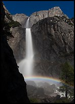 Moon rainbow, Lower and Upper Yosemite Falls. Yosemite National Park, California, USA. (color)