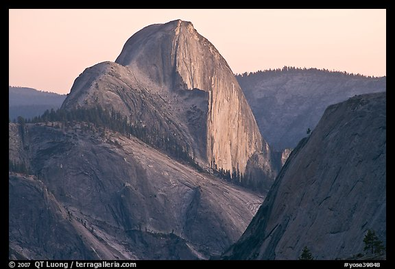 Tenaya Canyon and Half-Dome from Olmstedt Point, sunset. Yosemite National Park (color)