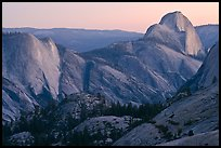 Tenaya Canyon, Clouds Rest, and Half-Dome from Olmstedt Point, sunset. Yosemite National Park, California, USA. (color)