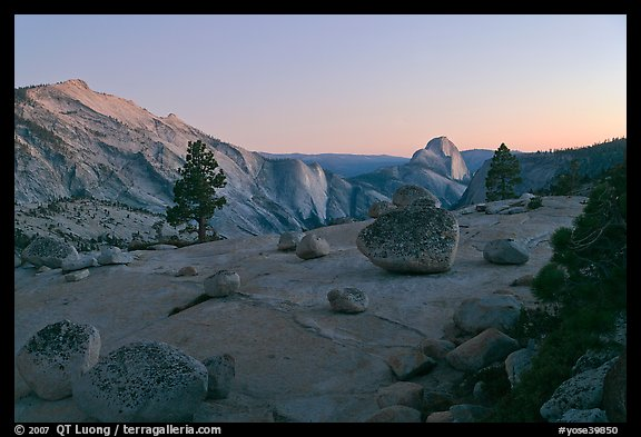 Glacial erratic boulders, Clouds Rest, and Half-Dome from Olmstedt Point, dusk. Yosemite National Park (color)