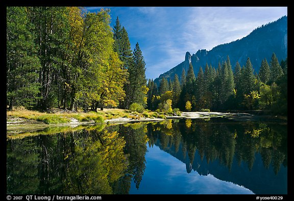 Merced River with fall colors and Sentinel Rocks reflections. Yosemite National Park (color)