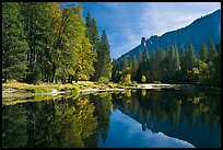 Merced River with fall colors and Sentinel Rocks reflections. Yosemite National Park, California, USA.