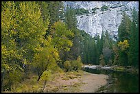 Merced River at the base of El Capitan in autumn. Yosemite National Park, California, USA.