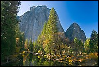Merced River and Cathedral Rocks in autumn. Yosemite National Park, California, USA.