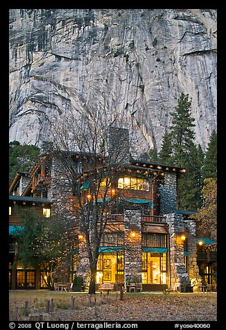 Historic Ahwahnee lodge at dusk. Yosemite National Park (color)