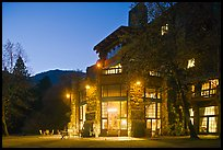Lights of Ahwahnee hotel at night. Yosemite National Park, California, USA.