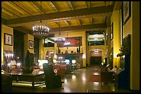 Reading room at night, Ahwahnee hotel. Yosemite National Park, California, USA. (color)